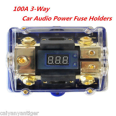 3-Way Car Audio Power Fuse Holder Stereo Distribution Block Fusebox /LED Display