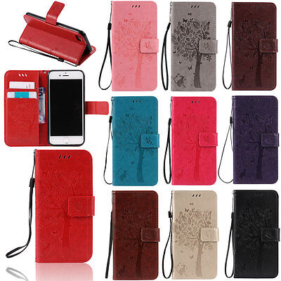 For Apple iPhone 6 6s Plus Genuine Leather Flip Case Cover Wallet Card Holder ()