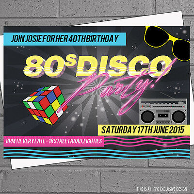 Personalised 80s Birthday Party Invitations Disco x 12 with envelopes H0503 - 80s Birthday Invitations