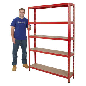 Boltless-Garage-Shelving-Steel-Storage-5-Shelf-Racking-System-Deal-High-BiGDUG