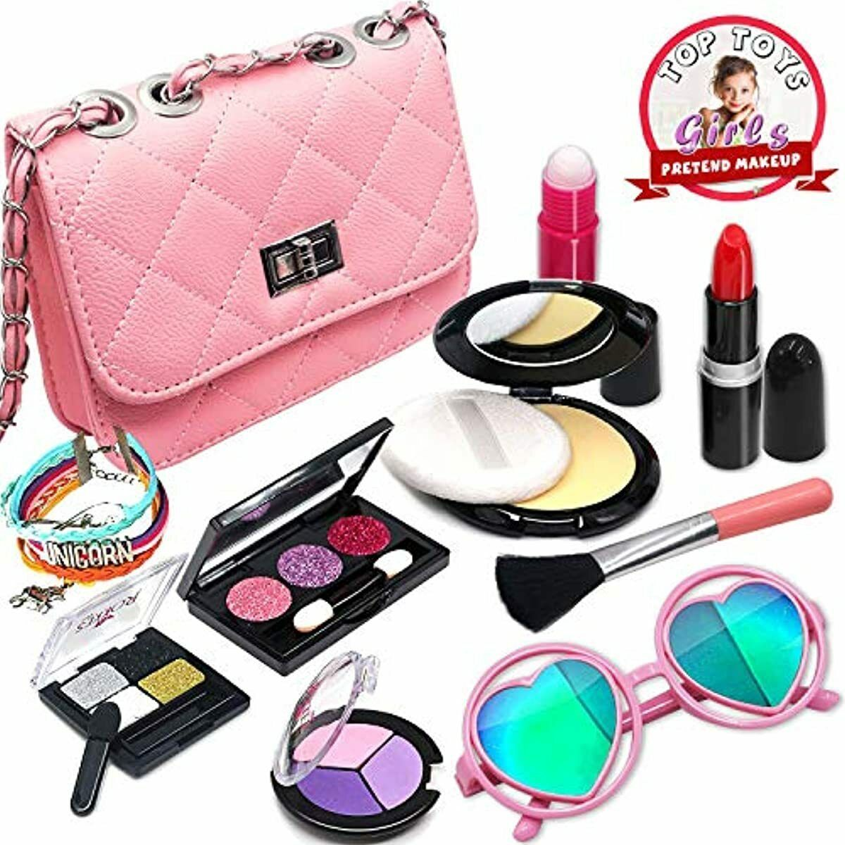 Girls Pretend Play Makeup Toy Bag For Kit Toddlers Fake Kids