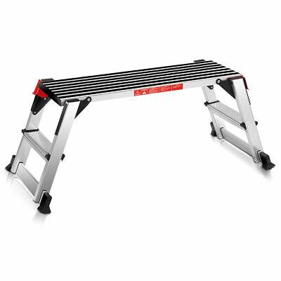 330lbs Aluminum Stool Fold Bench Work Platform Non-slip Drywall Ladder