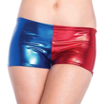 Misfit Booty Shorts Harley Quinn Suicide Squad Womens Blue Red Mid-Rise Costume - Harley Quinn Booty