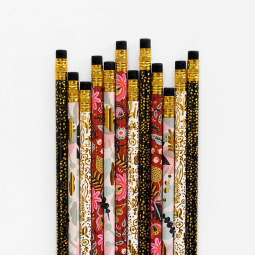 Rifle Paper Co Modernist Pencils #2 Box Set of 12 Designer Fashion Floral Gold