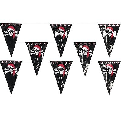 100ft String of PIRATE Flags PENNANT Birthday Party Banner Skull Crossbones