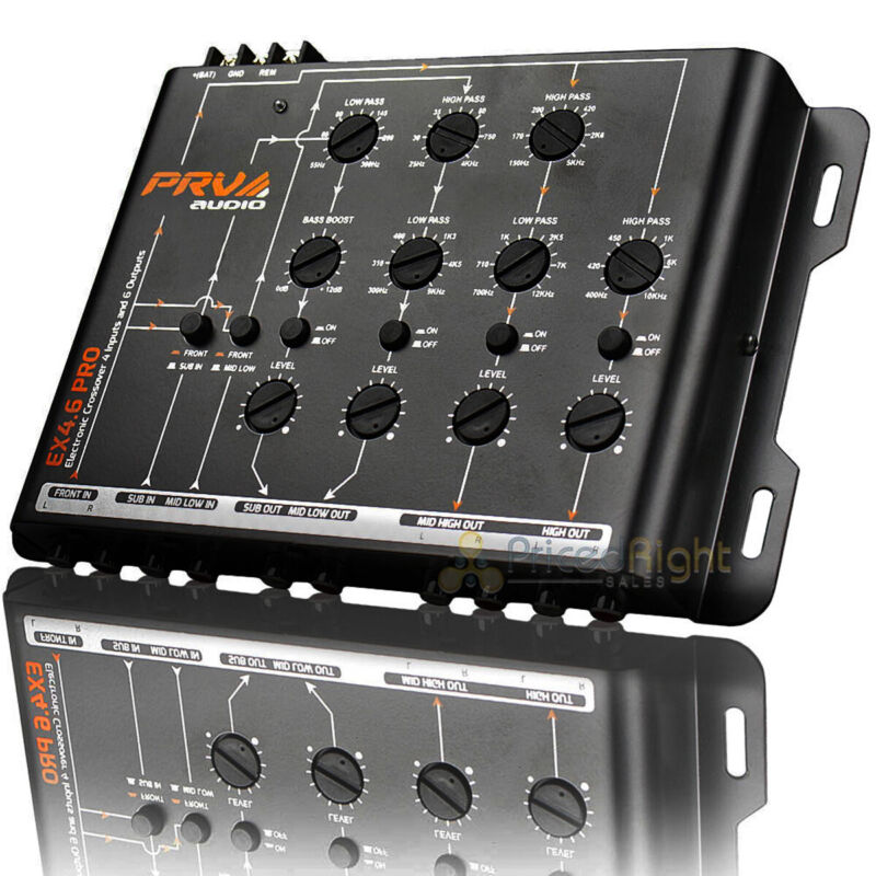 PRV 4 Way Electronic Crossover 4 Inputs and 6 Outputs 9 Volts RMS EX4.6 PRO