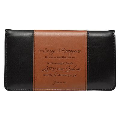 STRONG & COURAGEOUS Checkbook Cover Brown Black Faux Leather Christian