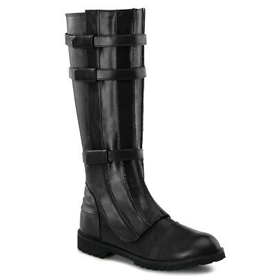 Captain America Boots (Mens Black Captain America Superhero Avengers Hawkeye Knee High Cosplay)