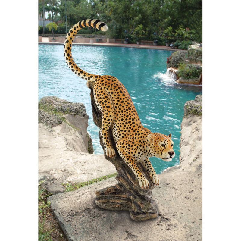African Savannah Muscular Cheetah Sculpture Garden Statue Exotic Wildlife Cat