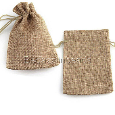 Cinch Natural - 10 Soft Natural Beige Colored Burlap Cloth Cinch String Jewelry Gift Pouch Bags