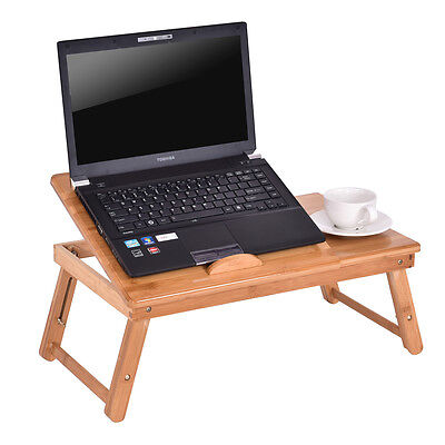 Bamboo Folding Laptop Computer Notebook Table Bed Desk Bed Tray Stand Adjustable