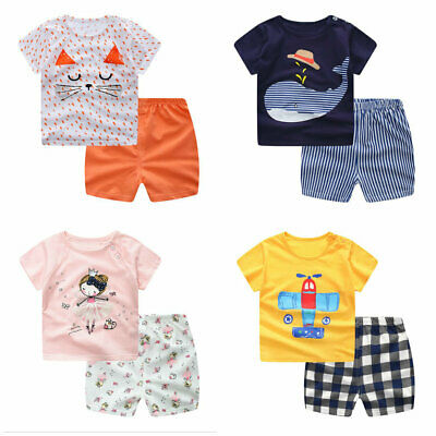 kids infant Baby Boys girls Clothes summer Cartoon T shirt+shorts outfits & set