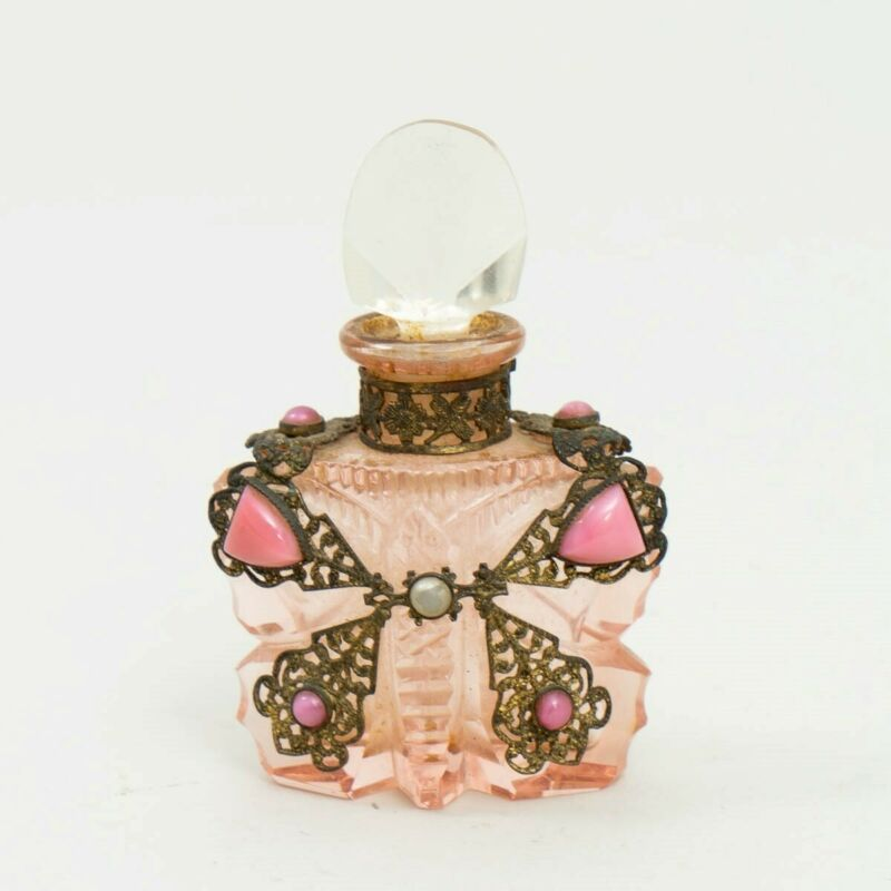 Antique Czech Cut Glass Pink Butterfly Perfume Bottle Gold Filigree & Gemstones