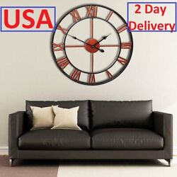 18 inch Large Retro Wall-Mountable Black Iron  Hollow Roman Numerals Wall Clock