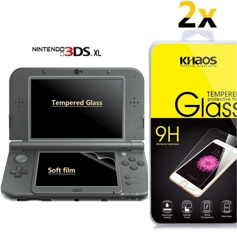 2x New Nintendo 3DS XL Tempered Glass Top LCD Screen Protector & Clear PET Film