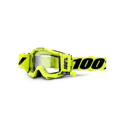 100% Accuri Brille mit FORECAST ROLL OFF SYSTEM GELB MX Motocross Enduro Quad