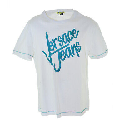 AUTHENTIC VERSACE MEN'S JEANS T-SHIRT LOGO WHITE/TEAL STYLE#B3GHB700 ROUND NECK