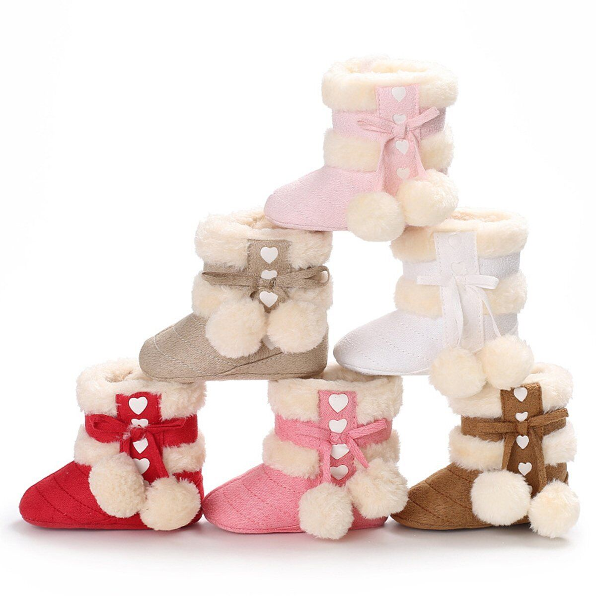 Baby Girls Newborn Winter Warm Plush Boots Toddler Infant Soft Sole Shoes