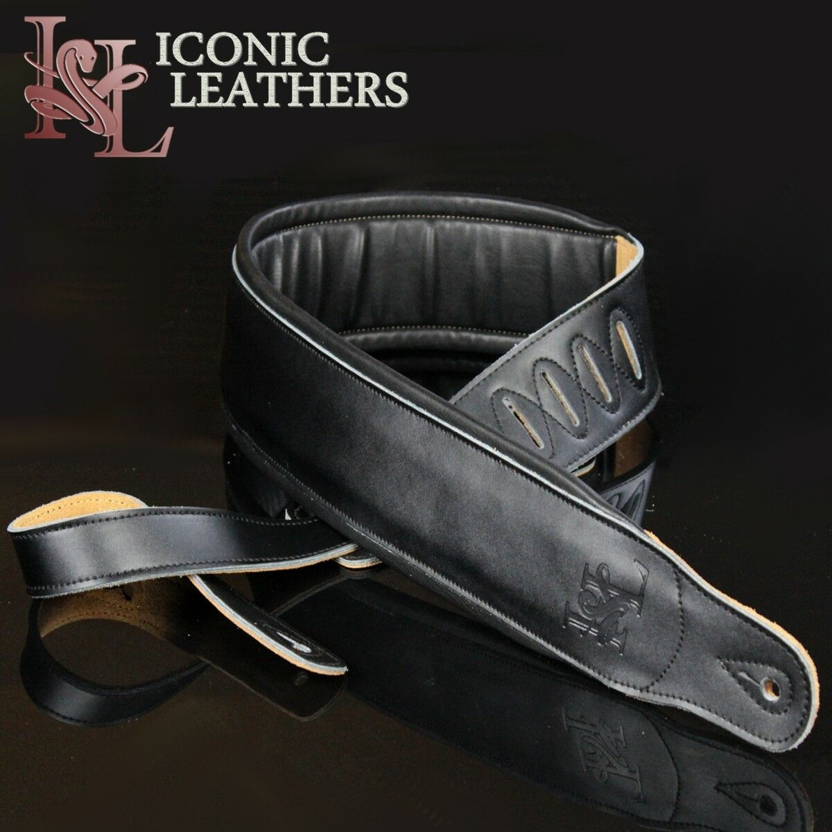 "Iconic 3.25"" Extra Wide Dual Padded Leather Black Guitar Bas"