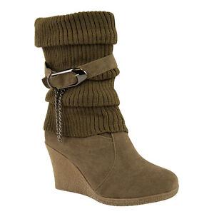 Ladies Ankle Boots Mid High Wedge Heel Winter Sock Biker Knee Calf Size