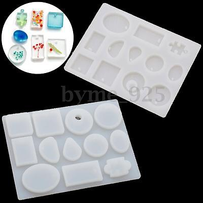 """12 Silicone Mold Mould For DIY Resin Pendant Jewelry Making Craft 5.7'' x 4.3"""""""