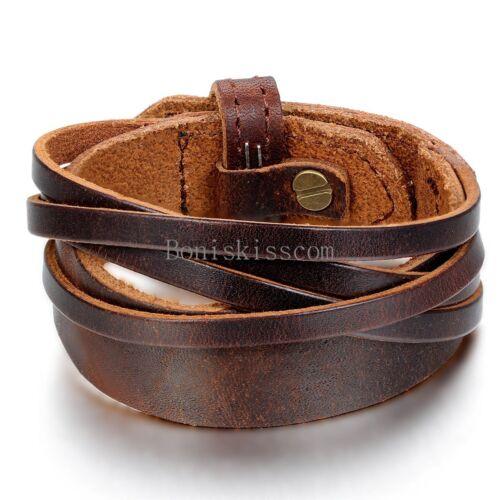 Jewellery - Punk Leather Wrap Cuff Bangle Bracelet Men's Women's Wristband  Unisex Jewelry