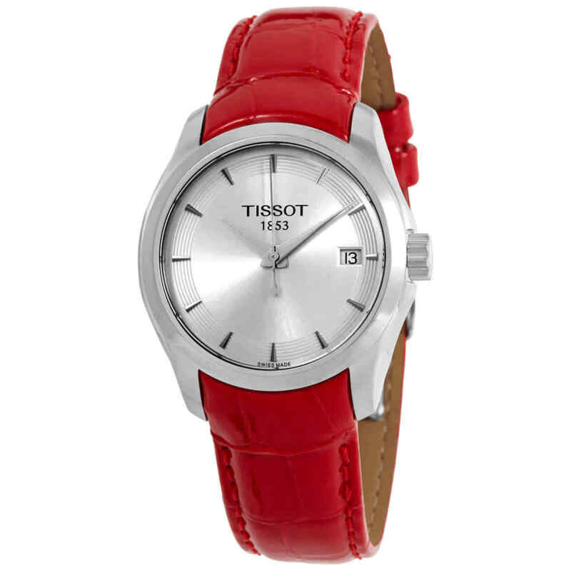 Tissot-Couturier-Quartz-Silver-Dial-Red-Leather-Ladies-Watch-T035.210.16.031.01