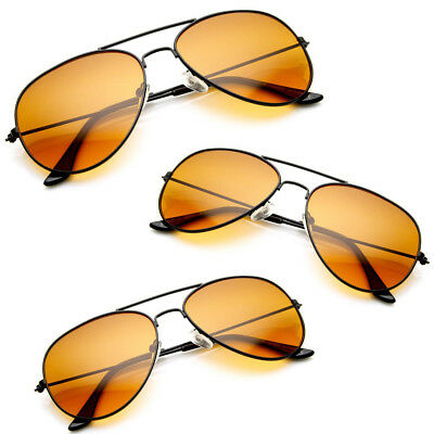 Hd Aviator Sunglasses Driver Night Vision Driving Glasses Amber Lens Anti (Amber Sun Glasses)