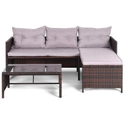 Garden Furniture - Topbuy 3PC Outdoor Furniture Set Rattan Wicker Sofa Table Deck Garden Patio