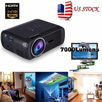 Portable 7000 Lumen Movie WIFI Bluetooth 1080P HD LED Home Theater Projector To