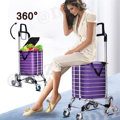 Foldable Shopping Cart Portable Aluminum Utility Grocery Carts Swivel 8 Wheels