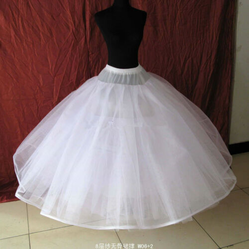White 8 Layers Wedding Gown Crinoline Bridal Dress Petticoat Skirt Underskirt