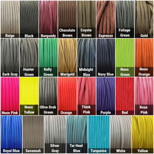 550 Paracord Type III 7 Strand Parachute Cord 10, 25, 50, 100 ft - Made in USA
