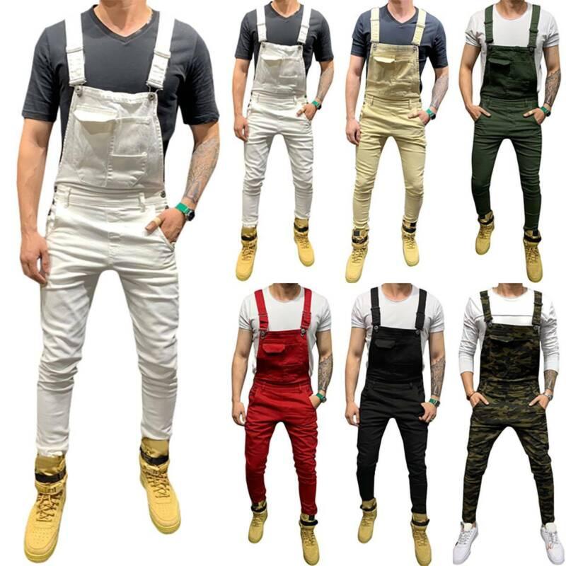 Men Jeans Denim Slim Pants Bib Jumpsuits Suspender Overalls