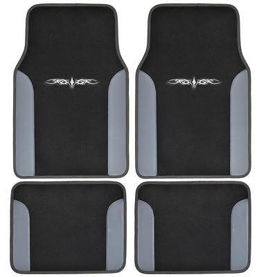 Tattoo Design Floor Mats for Car SUV Van 2 Tone 4 Piece Gray Black - Lacrosse Tattoos