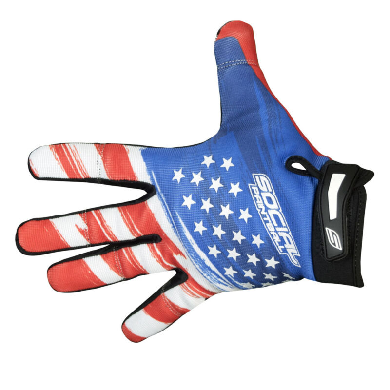 Social Paintball Grit Gloves - USA Flag Size: X-Small