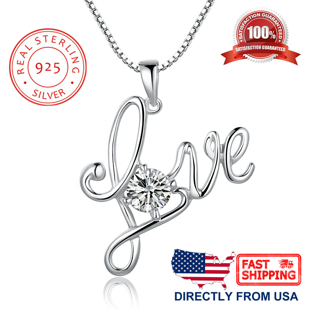 Women's and Girl's Sterling Silver Love with Cubic Zirconia Pendant Necklace Fine Jewelry