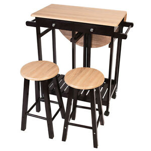 3PC Wood Kitchen Island Rolling Cart Set Dinning Drop Leaf Table W/ 2  Stools New