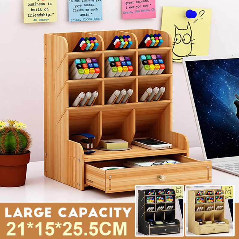 Wood Office Desk Organizer Desktop Pen Pencil Storage Holder Container Protable