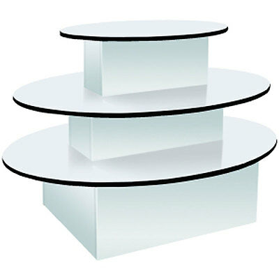 3-tier Oval Merchandiser Display Table Clothing Gift Store White Knockdown New