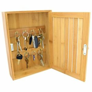 BAMBOO WALL MOUNTED KEY CABINET STORAGE HOLDER BOX WOODEN CUPBOARD KEY HOOKS NEW