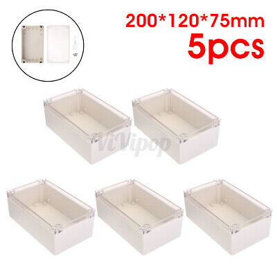 5x Clear Electronic Project Box Enclosure Plastic Case Waterproof 7.87x4.7x2.9