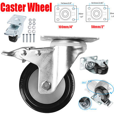 Heavy Duty Caster Wheel W Brake Swivel Plat Casters Non Skid No Mark 1x 2x 4x