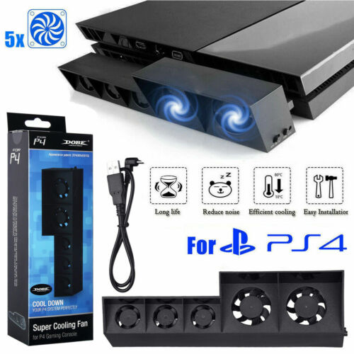 Smart Turbo Temperature Control USB Cooling Cooler 5-Fan for Playstation 4 PS4