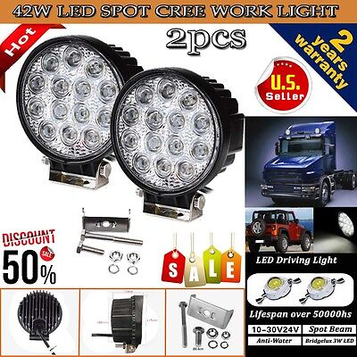 2PCS 42W Cree LED WORK LIGHT BAR SPOT BEAM LAMP OFFROAD TRUCK 12V SUV UTE ATV