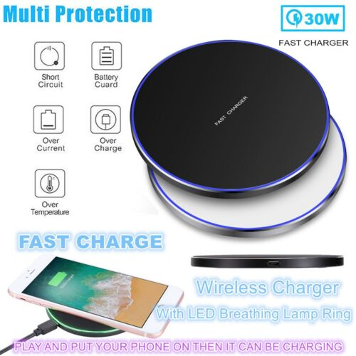 30W Qi Wireless Charger Fast Charging Pad Mat For iPhone 12 Pro Max 11 Pro XS 8 Cell Phone Accessories