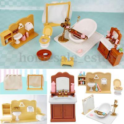Plastic Bathtub Toilet Miniature Doll House Furniture Toy Set Bathroom Decor (Toilet Toy)