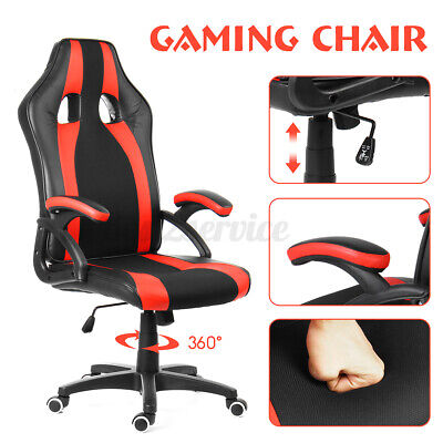 Executive High-back Office Chair Racer Gaming Chair Computer Leather Swivel Seat