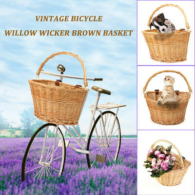 Vintage Wicker Bike Bicycle Front Basket Box Handlebar Leather Straps Shopping