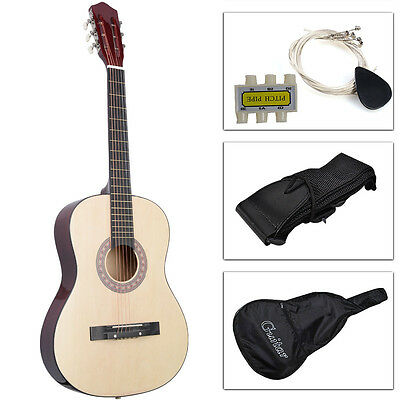 Acoustic Guitar W/ Guitar Case, Strap, Tuner and Pick for New Beginners Beige